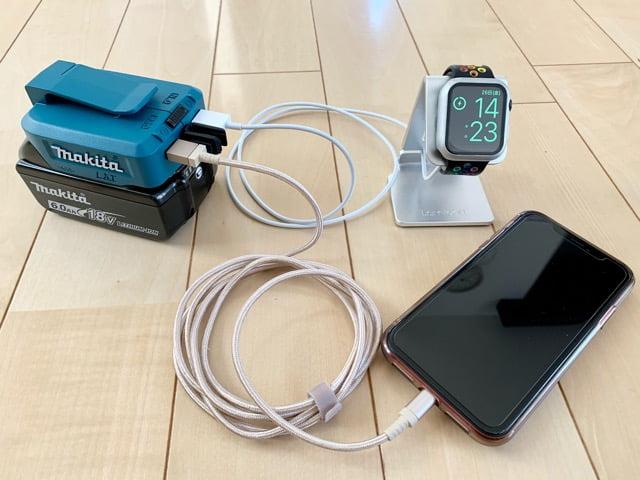 マキタUSBアダプターでiphone充電